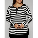Slimming Striped Buttoned T-Shirt