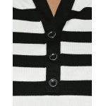 best Slimming Striped Buttoned T-Shirt