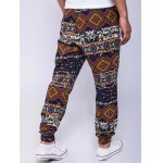 Ethnic Style Geometric Print Lace-Up Beam Feet Jogger Pants deal