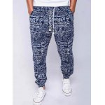 Cotton+Linen Geometric Print Lace-Up Beam Feet Jogger Pants