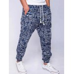 cheap Cotton+Linen Geometric Print Lace-Up Beam Feet Jogger Pants