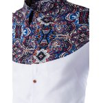 Ethnic Style Pattern Spliced Turn-Down Collar Long Sleeve Shirt deal