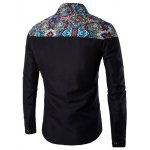 cheap Ethnic Style Pattern Spliced Turn-Down Collar Long Sleeve Shirt