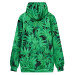 cheap Hooded Front Pocket Leaf Print Green Hoodie