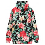 cheap Front Pocket Floral Outerwear Hoodie