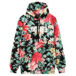 Front Pocket Floral Outerwear Hoodie