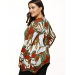 Long Sleeves Printed Knitted Asymmetrical Pullover deal