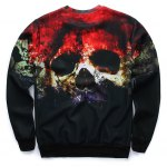 cheap Crew Neck 3D Horrific Skull Printed Sweatshirt