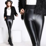cheap Elastic Waist PU Leather Fleece Leggings