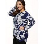 cheap Paisley Print Knitted Asymmetrical Pullover
