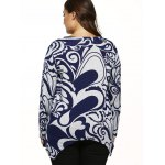 Paisley Print Knitted Asymmetrical Pullover for sale
