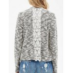cheap Collarless Lace Spliced Asymmetric Cardigan