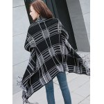 Shawl Collar Checked Cape Fringed Overcoat deal