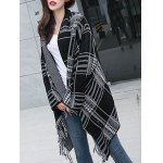 cheap Shawl Collar Checked Cape Fringed Overcoat