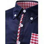 Gingham Splicing Design Turn-Down Collar Long Sleeve Shirt for sale