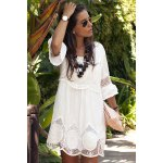 cheap Fashionable Scoop Neck 3/4 Sleeve Lace Splicing Dress For Women