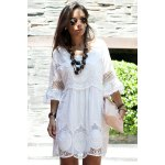 Fashionable Scoop Neck 3/4 Sleeve Lace Splicing Dress For Women deal