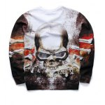 cheap 3D Angry Skull Printed Crew Neck Sweatshirt