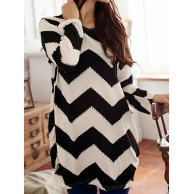 Long Sleeves Scoop Neck 2-Toned Ripple Pattern Long Sections Plus Size T-shirt