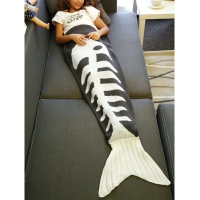 Super Soft Fish Bone Design Knitted Mermaid Tail Blanket