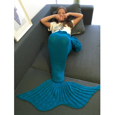 Flounced Design Knitted Mermaid Tail Blanket