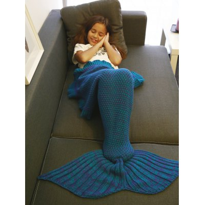 Comfortable Flounced Design Knitted Mermaid Tail Blanket