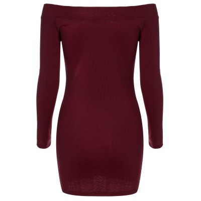 Long Sleeve Off-The-Shoulder Knit Bodycon Dress