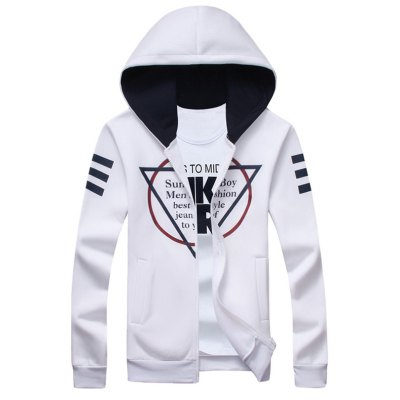 Inverted Triangle Print Zip Up Hoodie