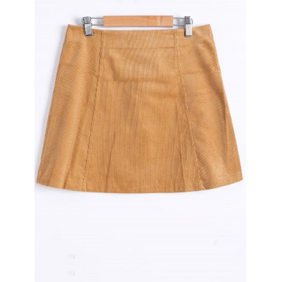 Button Front A Line Skirt