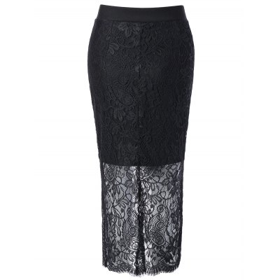 Lace Spliced Pencil Skirt