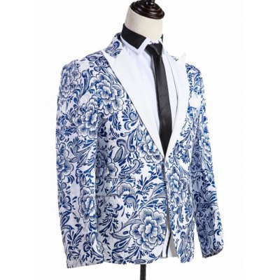 Lapel Chinoiserie Floral Print One-Button Blazer
