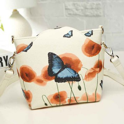 Butterfly Print PU Leather Crossbody Bag