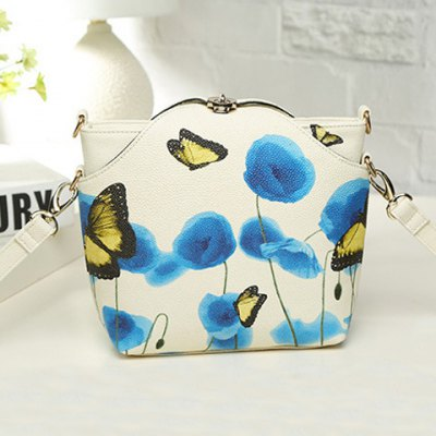 Twist-Lock Butterfly Print PU Leather Crossbody Bag