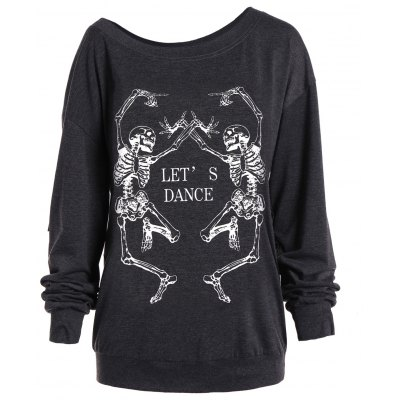 Skew Collar Skeleton Printed Halloween Sweatshirt
