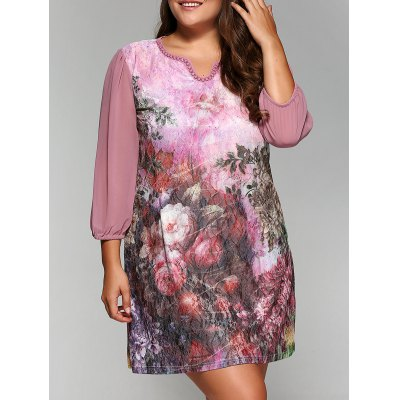 3/4 Sleeve Rhinestoned Floral Print A-Line Dress