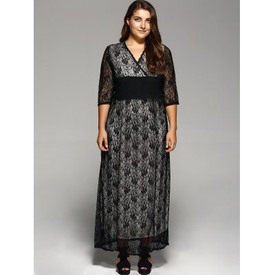 Empire Waist Plus Size Lace Maxi DressPlus Size Dresses<br>Empire Waist Plus Size Lace Maxi Dress<br><br>Style: Brief<br>Material: Lace<br>Silhouette: Sheath<br>Dresses Length: Floor-Length<br>Neckline: V-Neck<br>Sleeve Length: 3/4 Length Sleeves<br>Waist: Empire<br>Pattern Type: Floral<br>With Belt: No<br>Season: Fall,Summer<br>Weight: 0.414kg<br>Package Contents: 1 x Dress
