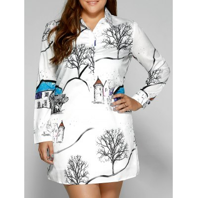 Plus Size Landscape Print Shirt Dress