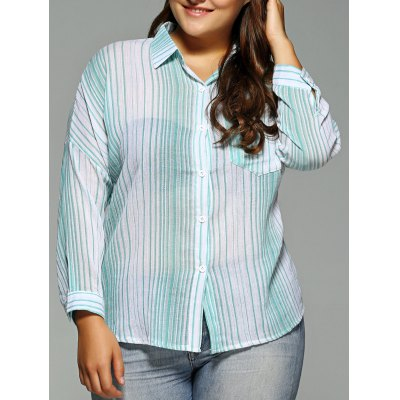 Plus Size One Pocket Striped High-Low Shirt