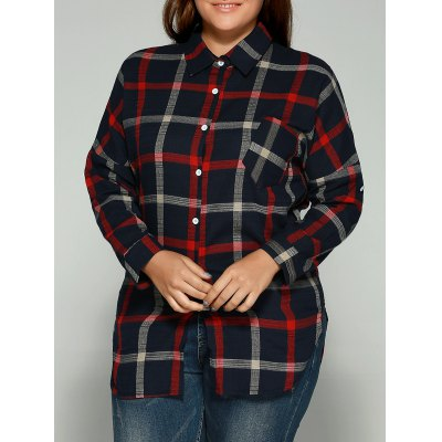 Plus Size Checkered Pattern Back Buttoned Shirt