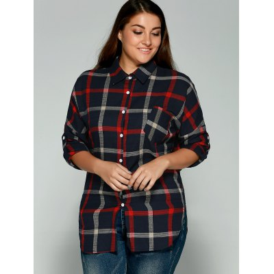 Plus Size Checkered Print Back Buttoned ShirtPlus Size Tops<br>Plus Size Checkered Print Back Buttoned Shirt<br><br>Material: Cotton Blends<br>Clothing Length: Regular<br>Sleeve Length: Full<br>Collar: Shirt Collar<br>Style: Casual<br>Season: Fall,Spring<br>Pattern Type: Plaid<br>Weight: 0.278kg<br>Package Contents: 1 x Shirt