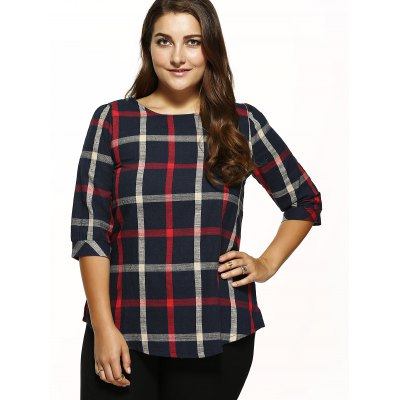 Checked Loose T-ShirtPlus Size Tops<br>Checked Loose T-Shirt<br><br>Material: Cotton,Polyester<br>Clothing Length: Regular<br>Sleeve Length: Three Quarter<br>Collar: Round Neck<br>Style: Fashion<br>Season: Fall,Summer<br>Pattern Type: Plaid<br>Weight: 0.270kg<br>Package Contents: 1 x T-Shirt