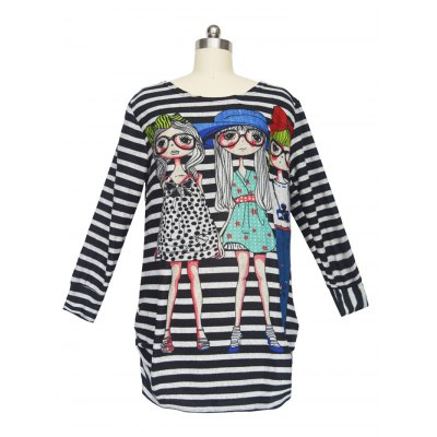 Figure Pattern Striped T-ShirtPlus Size Tops<br>Figure Pattern Striped T-Shirt<br><br>Material: Polyester<br>Clothing Length: Long<br>Sleeve Length: Full<br>Collar: Scoop Neck<br>Style: Casual<br>Season: Fall,Spring<br>Pattern Type: Striped<br>Weight: 0.420kg<br>Package Contents: 1 x T-Shirt