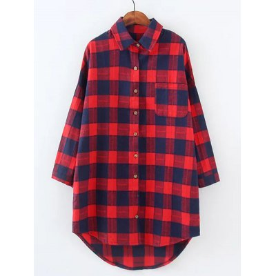 Plus Size Checkered Print High Low Shirt