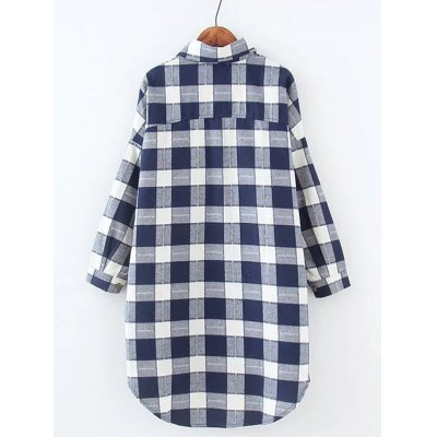 Plus Size High Low Checkered Print ShirtPlus Size Tops<br>Plus Size High Low Checkered Print Shirt<br><br>Material: Cotton Blends<br>Clothing Length: Long<br>Sleeve Length: Full<br>Collar: Shirt Collar<br>Style: Casual<br>Season: Fall,Spring<br>Pattern Type: Plaid<br>Weight: 0.345kg<br>Package Contents: 1 x Shirt