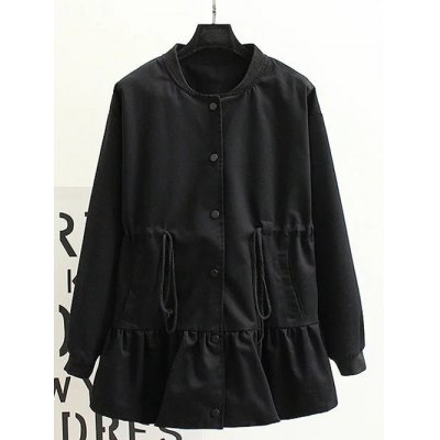 Back Letter Flounce Trench Coat