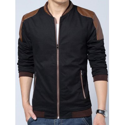 Plus Size Stand Collar PU-Leather Splicing Design Zip-Up Jacket