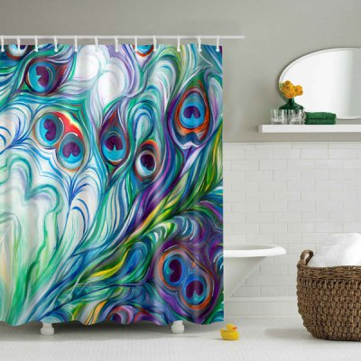 Peacock Feather Printed Waterproof Shower Curtain