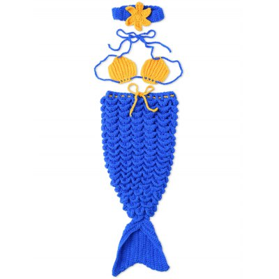 Photography Mermaid Costume Set Hand Knitted Baby Blankets