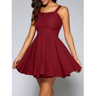 Spaghetti Straps String Fitting Pleated Dress