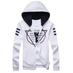 Inverted Triangle Print Long Sleeve Zip Up Hoodie